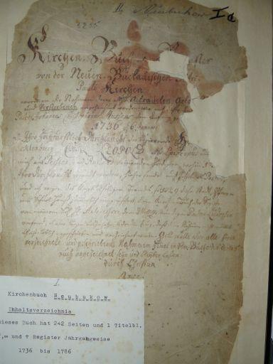 Kirchenbuch 1736-1786 (Titelseite)