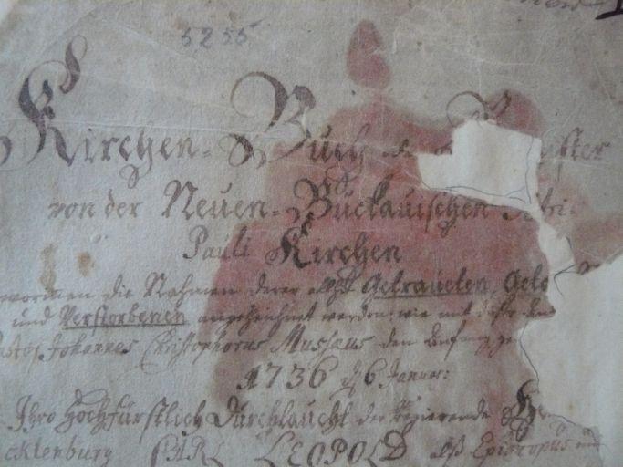 Detail Kirchenbuch 1736-1786 (Titelseite)